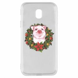 Чохол для Samsung J3 2017 Pig with a Christmas wreath