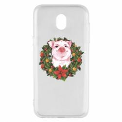 Чохол для Samsung J5 2017 Pig with a Christmas wreath