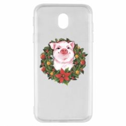 Чохол для Samsung J7 2017 Pig with a Christmas wreath