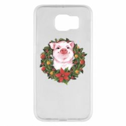 Чохол для Samsung S6 Pig with a Christmas wreath