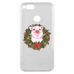 Чохол для Xiaomi Mi A1 Pig with a Christmas wreath