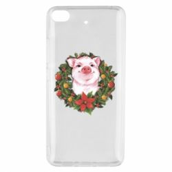 Чохол для Xiaomi Mi 5s Pig with a Christmas wreath