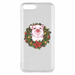 Чохол для Xiaomi Mi6 Pig with a Christmas wreath