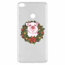 Чохол для Xiaomi Mi Max 2 Pig with a Christmas wreath