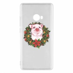 Чохол для Xiaomi Mi Note 2 Pig with a Christmas wreath
