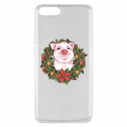 Чохол для Xiaomi Mi Note 3 Pig with a Christmas wreath