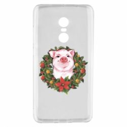 Чохол для Xiaomi Redmi Note 4 Pig with a Christmas wreath