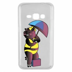 Чохол для Samsung J1 2016 Pig with umbrella