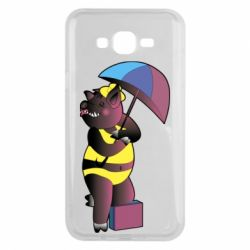 Чохол для Samsung J7 2015 Pig with umbrella