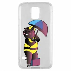 Чохол для Samsung S5 Pig with umbrella