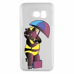Чохол для Samsung S6 EDGE Pig with umbrella