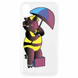 Чохол для iPhone XR Pig with umbrella