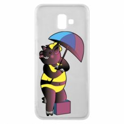Чохол для Samsung J6 Plus 2018 Pig with umbrella