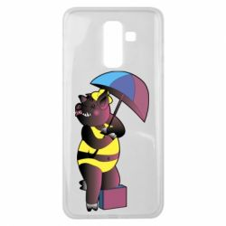 Чохол для Samsung J8 2018 Pig with umbrella