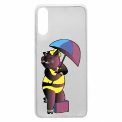 Чохол для Samsung A70 Pig with umbrella