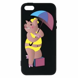 Чохол для iphone 5/5S/SE Pig with umbrella