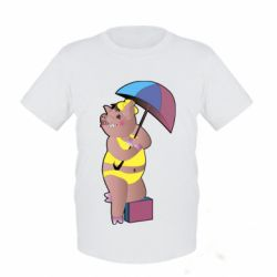 Дитяча футболка Pig with umbrella