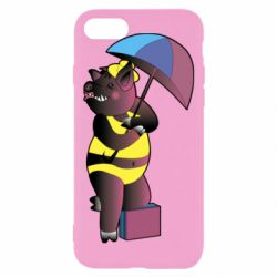 Чохол для iPhone 7 Pig with umbrella