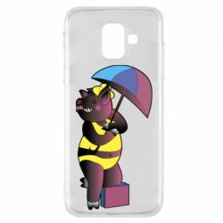 Чохол для Samsung A6 2018 Pig with umbrella