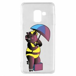 Чохол для Samsung A8 2018 Pig with umbrella