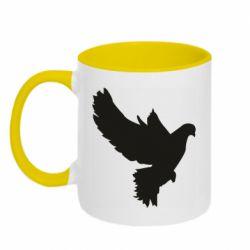 Кружка двухцветная 320ml Pigeon silhouette