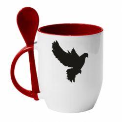 Кружка с керамической ложкой Pigeon silhouette