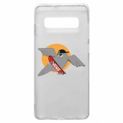 Чохол для Samsung S10+ Pigeon with skateboard