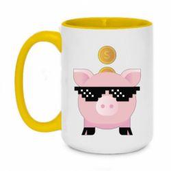 Кружка двоколірна 420ml Piggy bank