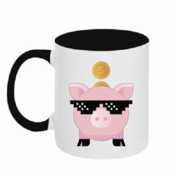 Кружка двоколірна 320ml Piggy bank