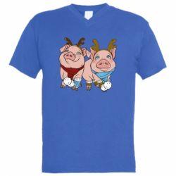 Чоловіча футболка з V-подібним вирізом Pigs