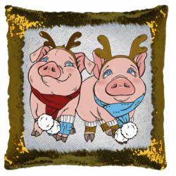 Подушка-хамелеон Pigs