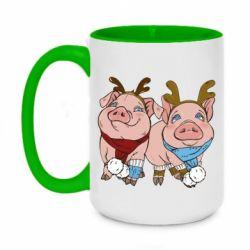 Кружка двоколірна 420ml Pigs