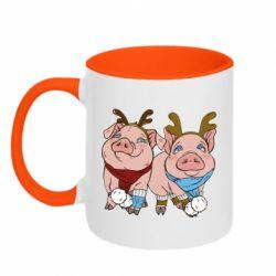 Кружка двоколірна 320ml Pigs