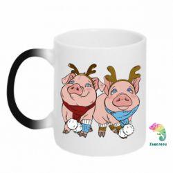 Кружка-хамелеон Pigs