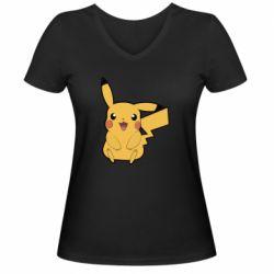 Женская футболка с V-образным вырезом Pika Pika
