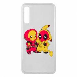 Чехол для Samsung A7 2018 Pikachu and deadpool
