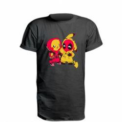 Удлиненная футболка Pikachu and deadpool