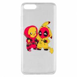 Чехол для Xiaomi Mi Note 3 Pikachu and deadpool