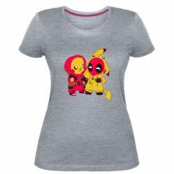 Женская стрейчевая футболка Pikachu and deadpool