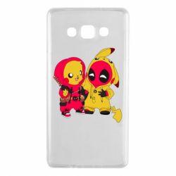 Чехол для Samsung A7 2015 Pikachu and deadpool