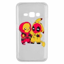 Чехол для Samsung J1 2016 Pikachu and deadpool