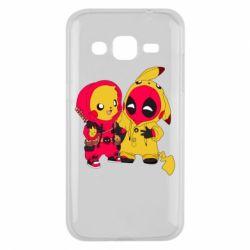 Чехол для Samsung J2 2015 Pikachu and deadpool