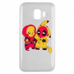 Чехол для Samsung J2 2018 Pikachu and deadpool