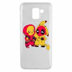 Чехол для Samsung J6 Pikachu and deadpool