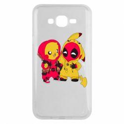 Чехол для Samsung J7 2015 Pikachu and deadpool
