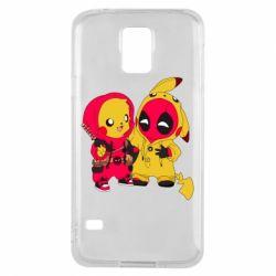 Чехол для Samsung S5 Pikachu and deadpool