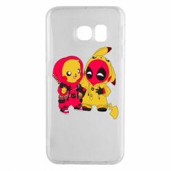 Чехол для Samsung S6 EDGE Pikachu and deadpool