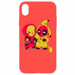 Чехол для iPhone XR Pikachu and deadpool