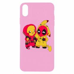 Чехол для iPhone Xs Max Pikachu and deadpool