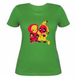 Женская футболка Pikachu and deadpool